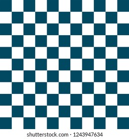 White and blue checkered background. Christmas and new year chess cage. Chess pattern. Chess cage. Traditional chess background. Seamless texture. Vector illustration