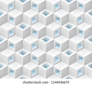 White blue cubes isometric seamless pattern. Vector geometric tileable background.