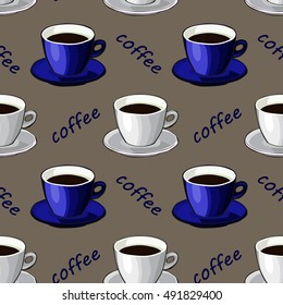 White and blue cups on a gray background