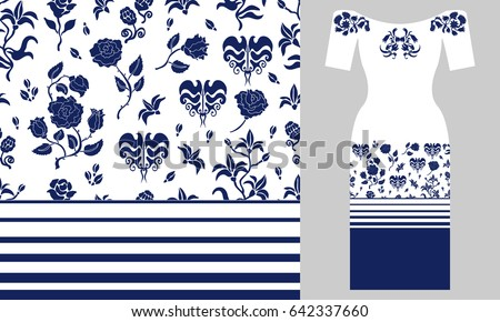 white blue floral border party dress stock vector royalty free