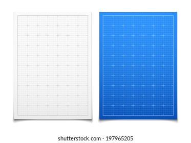 White and blue isolated square grid set with shadow backdrop vector background illustration