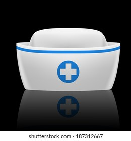White and blue nurse cap with reflection on black background