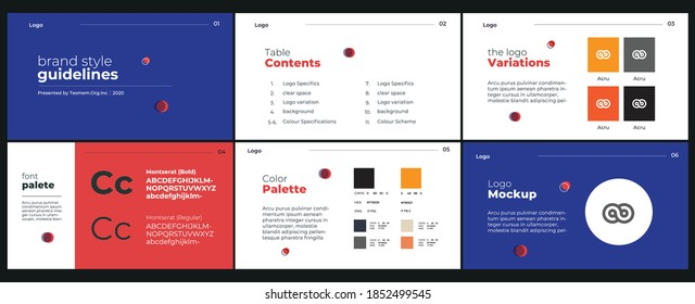 White and blue presentation template design for brand style guidelines