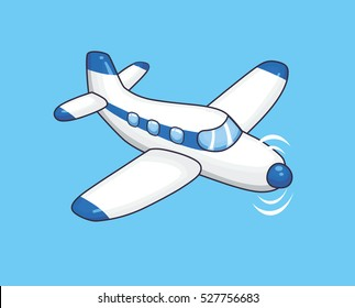 White blue propeller airplane.