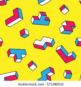 White, blue, red game 3d blocks seamless pattern on yellow background. Vintage 80s style design. Clipping mask used.