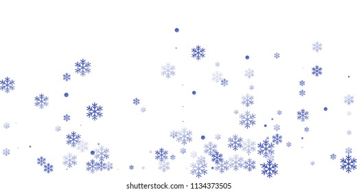 White blue snowflake macro vector illustration, snow flakes confetti magical scatter card. Winter Cristmas snow background. Flakes falling and flying winter trendy vector background.