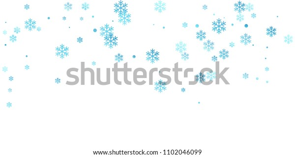 White blue snowflake macro vector illustration, snow flakes confetti minimal scatter card. Winter Christmas snow backdrop pattern. Flakes falling and flying winter trendy vector background.
