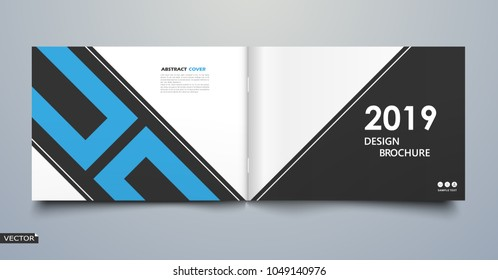 White, blue square lines icon. Bright leaves text frame. Patch a4 brochure cover design. Title sheet model set. Creative front page art. Ad banner theme. Modern vector front page art. 2019. 2018.Year.