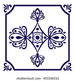 White blue tile vector. Dutch tiles pattern with indigo and white ornaments.