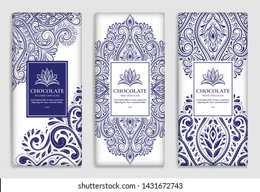 White and blue vintage packaging design of chocolate bars. Vector luxury template with ornament elements. Can be used for background and wallpaper. Great for food and drink package types.
