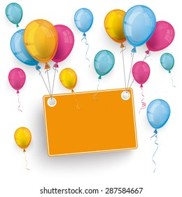 White board with colored balloons on the white background. Eps 10 vector file.