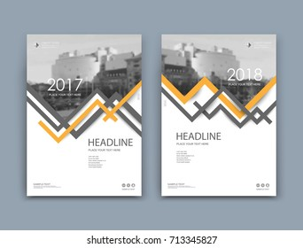 White book binder mockup. A4 brochure cover design. Title sheet model set. Modern vector front page art. Urban city house banner board. Yellow, grey angled frame, logo icon. Hi tech ad flyer text font