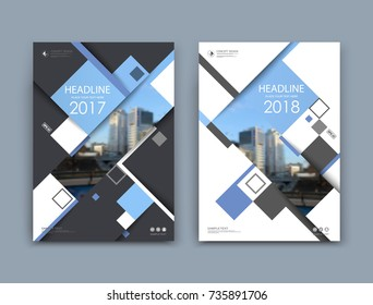White book binder mockup. A4 brochure cover design. Title sheet model set. Modern vector front page art. Urban city house board. Blue lines frame, rhombus figure, brand logo icon. Ad flyer text font