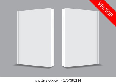 white book cover template, clean mock up,front and back cover 3D. design paste your design.vector eps.10