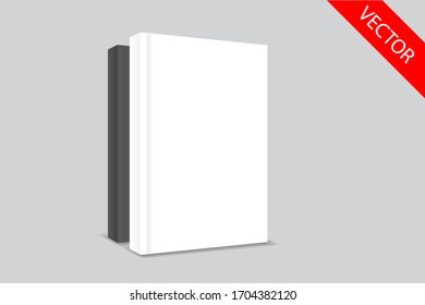 white book cover template, clean mock up,front cover 3d design paste your design.vector eps.10