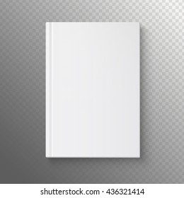 White book on a transparent background. Vector illustration of the book. White book template.