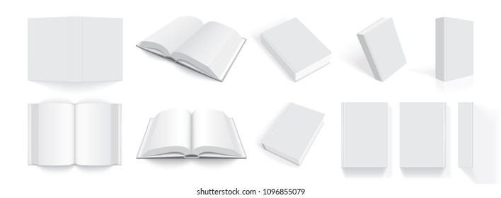 white books with thick cover from different sides isolated on white background mock up vector
