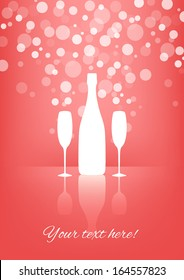White Bottle and two glasses of champagne with transparent bubbles on pink background. Vector version.