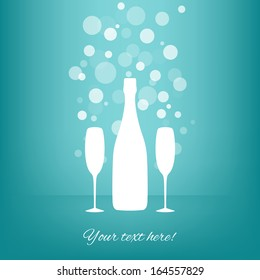 White Bottle and two glasses of champagne with transparent bubbles on blue background. Vector version.