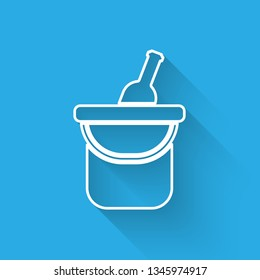 White Bottle of wine in an ice bucket icon isolated with long shadow. Vector Illustration