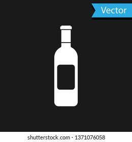 White Bottle of wine icon isolated on black background. Vector Illustration