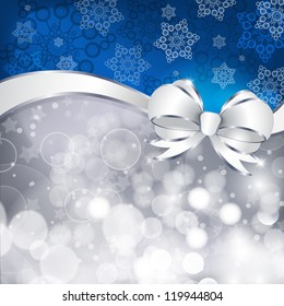 White bow  on a shines silver and blue background. Vector illustration