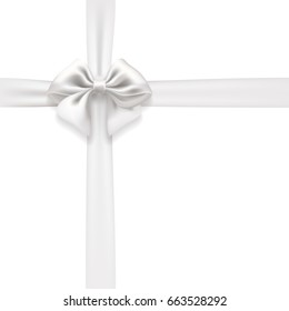 white bow and ribbon isolated. design element for celebration background