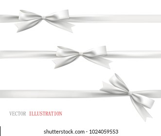 White bow with ribbon. Vector set of beautiful bows.
