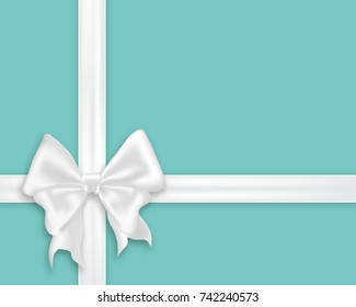White bow silk ribbons, realistic vector illustration. Elegant satin bow on turquoise blue background, gift wrapping concept template with space for text.