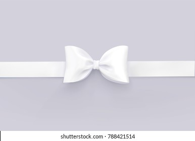 White bow tie isolated on white. Vector 3d realistic illustration.