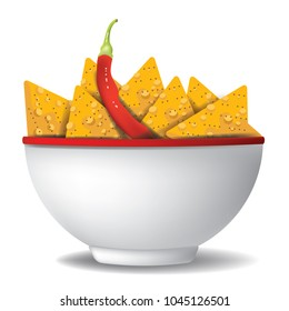 White bowl filled with nacho tortilla chips and a cayenne pepper. For Cinco de Mayo. EPS10 vector illustration.