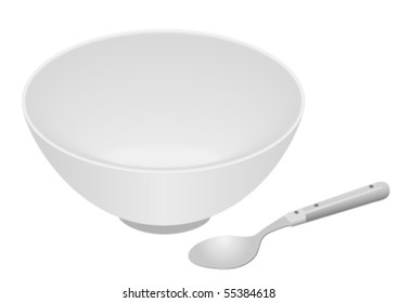 White bowl and spoon isolated on white background