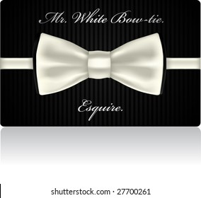 White bow-tie in sample business card design. VECTOR, contains gradients mesh elements.