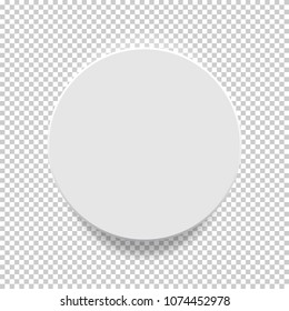 White box. Circle mock up model 3D top view with shadow. Vector illustration.