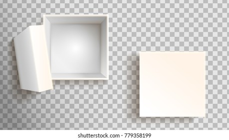 White box in front view. Open and closed. Vector clip art illustration.