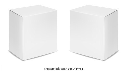 White box isolated, white packaging, realistic box package vector illustration