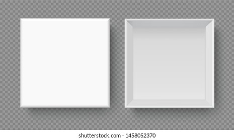 White box mock up  top view with long shadows. Vector isolated blank on transparent background.vector design Element illustration. use for box package template.