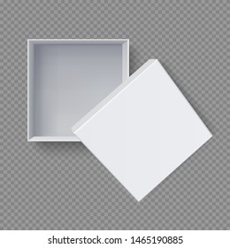 White box mock up  top view with Red Bows. Vector isolated blank on transparent background.vector design Element illustration. use for box package template.