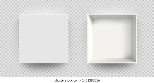 White box mock up vector 3D model top view. Isolated blank realistic open cardboard paper box mockup template