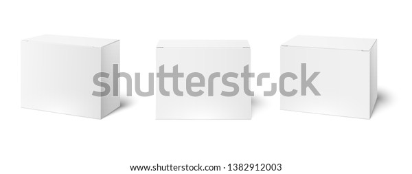 White box mockup. Blank packaging boxes, cube perspective view and cosmetics product package mockups 3d vector illustration set