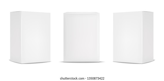 White box packaging, realistic isolated white background