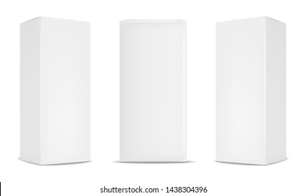 White box packaging set, realistic isolated white background, vector illustration