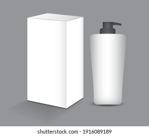 White box and plastic Bottle packaging for cream, skin, lotion, shampoo, beauty, Health, medicine, Supplement. 3d realistic. Realistic 3d mock-up. product design. Cosmetic package. 3d vector