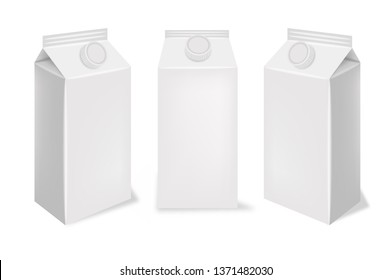 White box realistic set, isolated container, milk box