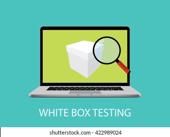 white box testing concept with laptop notebook and magnifying glass vector graphic illustration