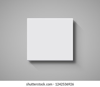 White Box top view mockup. 3d package blank template isolated box design.