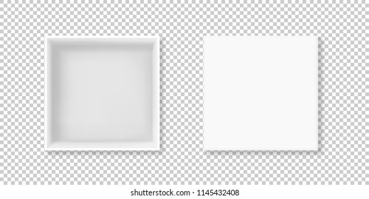 White box vector illustration of realistic 3D cardboard or carton paper square empty package with open cap. Top view isolated mockup model on transparent background