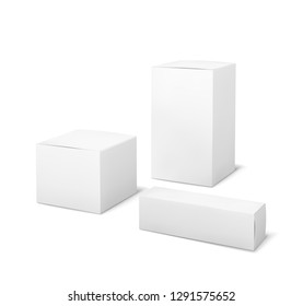 White boxes. Blank package medical and cosmetics box 3d products paper packaging cartons isolated vector mockup set