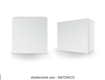 White boxes, Package, 3d box, product design,Vector illustration.