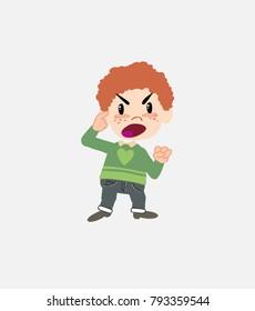 White boy in jeans screams angry in aggressive attitude.